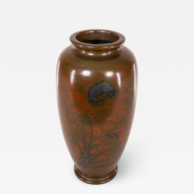 Antique Japanese Bronze Vase with Landscape and Red Patina