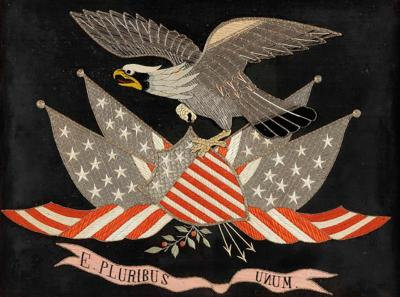 Antique Japanese Export Silk Embroidery Americana Patriotic Panel