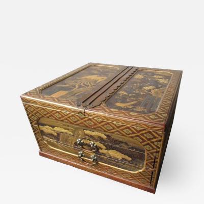 Antique Japanese Gilt Lacquer Box w Tomobako