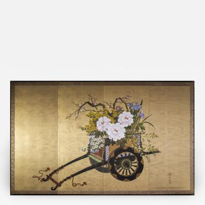 Antique Japanese Gold and Polychrome Painted Silk Four Panel Chinoiserie Screen