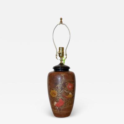 Antique Japanese Polychrome Decorated Potter Vase Now a Designer Table Lamp