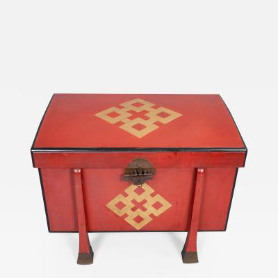 Antique Japanese Red Lacquer Armor Box
