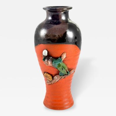 Antique Japanese Sumida Pottery Vase