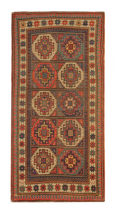 Antique Kazak Area Rug Handmade Rare Wool Rug 206x100cm
