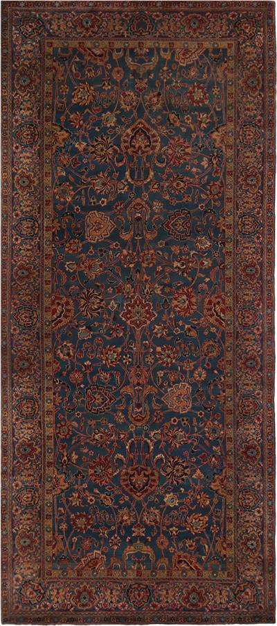 Antique Kerman Blue Burgundy Wool Persian Rug