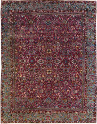 Antique Kerman Persian Handmade Allover Floral Red Wool Rug