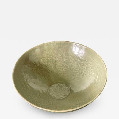 Antique Korean Ceramic Bowl with Carved Design Goryeo Dynasty