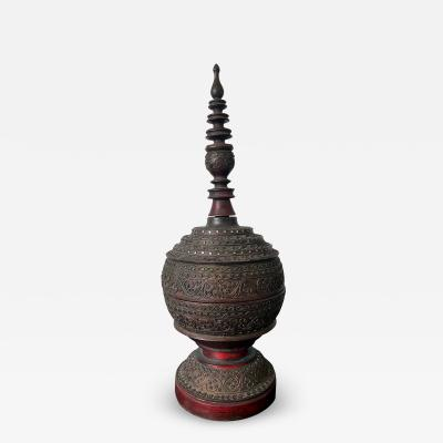 Antique Lacquered Wood Offering Vessel Thailand