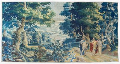 Antique Late 17th C Flemish Verdure Landscape Tapestry