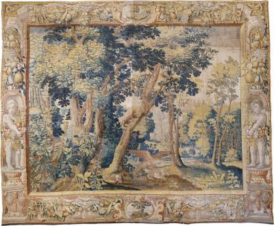 Antique Late 17th Century Antique Franco Flemish Verdure Landscape Tapestry