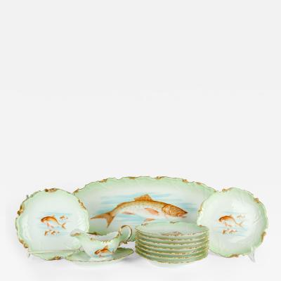 Antique Limoges 13 Pieces Fish Set