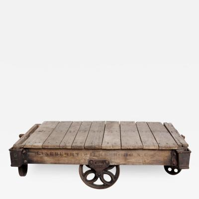 Antique Lineberry Cart Coffee Table Industrial Cast Iron Wood N Carolina 1940s