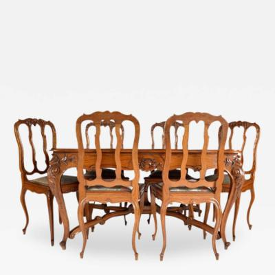 Antique Louis XV Dining Table and Six Chairs