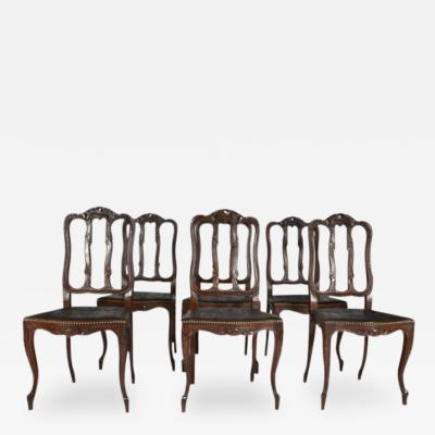 Antique Louis XV Set of Six 6 Chairs Dining Kitchen France 19th Century