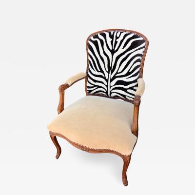 Antique Louis XV Style Walnut Bergere Arm Chair Clarence House Zebra Velvet