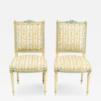 Antique Louis XVI Pair of Side Chairs 19th C France