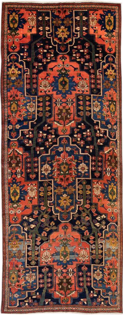 Antique Malayer Handmade Floral Pattern Blue Gallery Wool Rug
