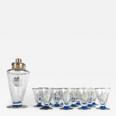 Antique Martini Cocktail Shaker Set with Sterling Inlaid Ship Design