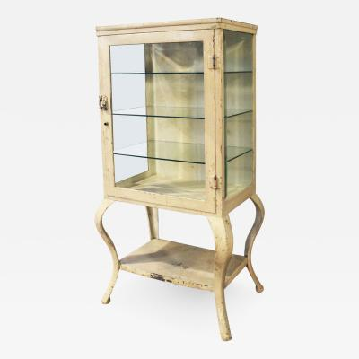 Antique Metal and Glass Apothecary Medical Storage Cabinet Vintage Industrial