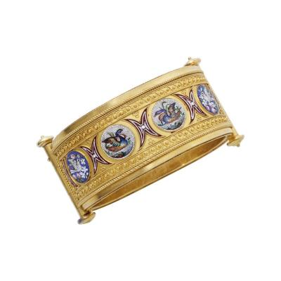 Antique Micromosaic and Gold Bangle circa 1850