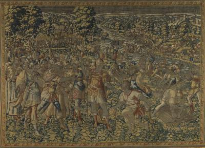 Antique Mid 16th Century Gold and Brown Historical Flemish Renaissance Tapestry