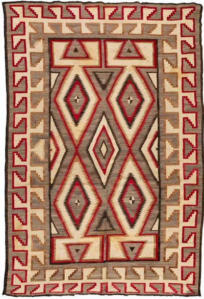 Antique Native American Navajo Large Geometric Grey Ivory Rug c 1920s 1930s