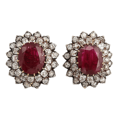 Antique Natural Burma Ruby Diamond Ear Clips