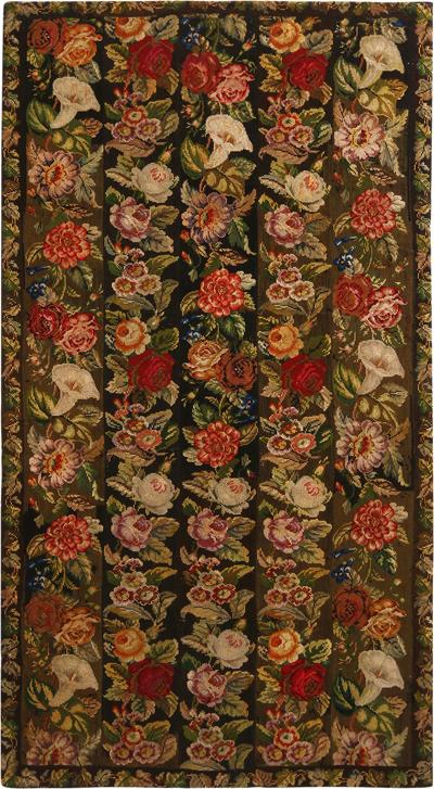 Antique Needlepoint Green Wool Floral Rug