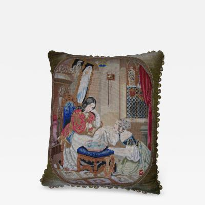 Antique Needlepoint Tapestry Pillow
