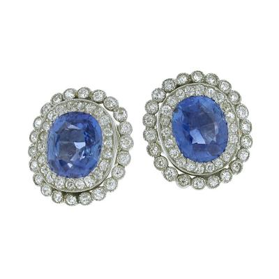 Antique Non Heat Ceylon Sapphire Diamond Platinum Earrings