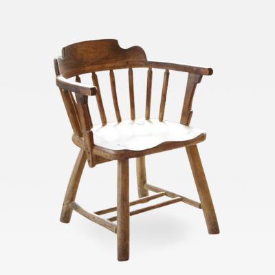 Antique Oak Barrel Chair