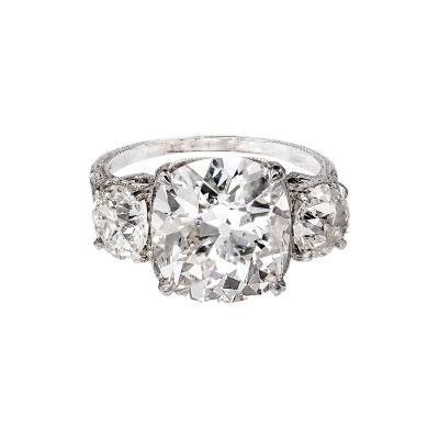 Antique Old Mine Cushion Cut Diamond Platinum Ring