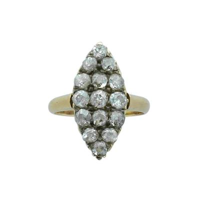 Antique Old Mine Cut Diamond Yellow Gold Marquise Ring