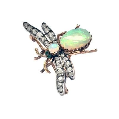 Antique Opal Diamond Bee Brooch Pendant C 1890