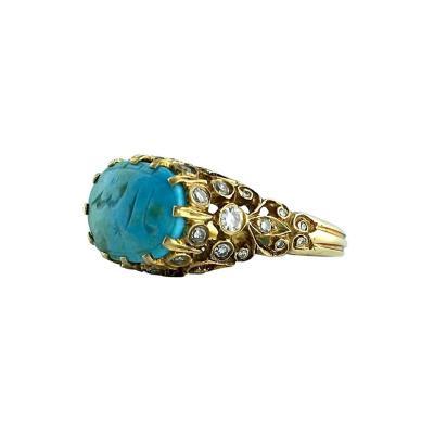 Antique Oriental Turquoise Diamond Ring