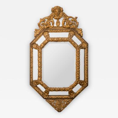 Antique Ornate Flemish Repousse Brass Framed Mirror Cherub Crown