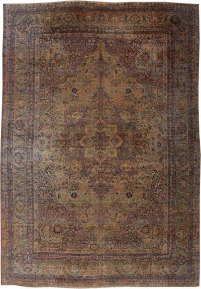 Antique Oversize Persian Gold Floral Kirman Lavar Rug circa 1880s 1900s