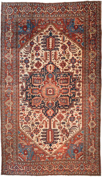 Antique Oversize Persian Serapi Rug c 1875 1880