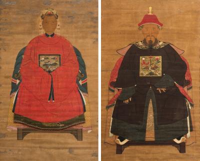 Antique Pair Chinese Ancestor Portraits