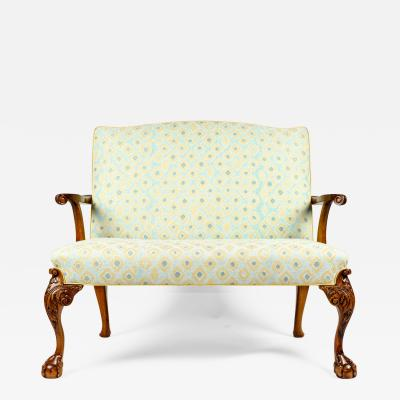 Antique Pair Claw Foot Camelback Settee