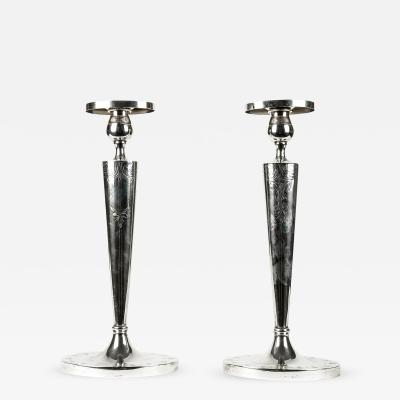 Antique Pair English Sterling Silver Candlesticks