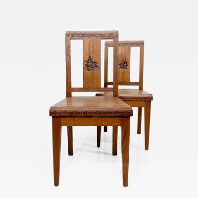 Antique Pair of Asian Art Carved Side Chairs in Solid Mahogany HONG KONG 1940s
