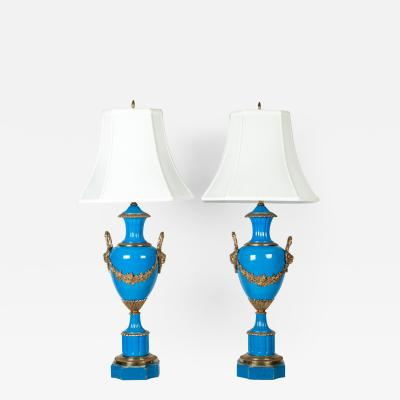 Antique Pair of Blue Glazed Porcelain and Brass Lamps