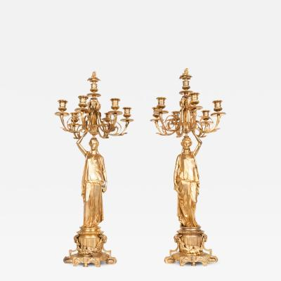 Antique Pair of Bronze Six Light Candelabra with Flame Finials