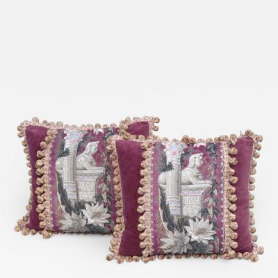Antique Pair of Egyptian Revival Cushions Circa 1860