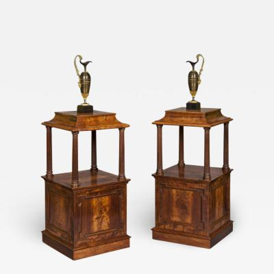 Antique Pair of English Georgian Period Padouk Wood Free Standing Pedestals