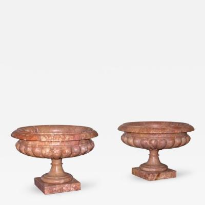 Antique Pair of Italian Breccia Corallina Marble Urns