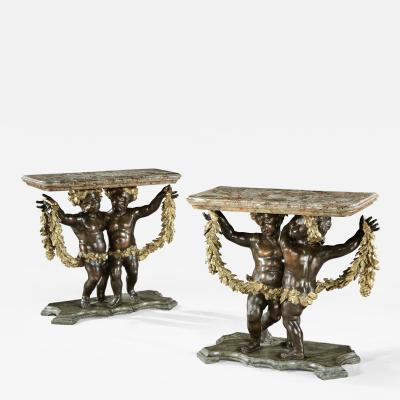 Antique Pair of Italian Giltwood and Ebony Console Side Tables