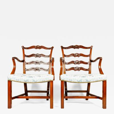 Antique Pair of Ribbon Back Chairs