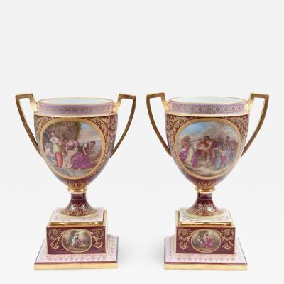 Antique Pair of Royal Vienna Porcelain Decorative Pieces Urns